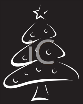 Royalty Free Clipart Image of a White Outline of a Christmas Tree on Black