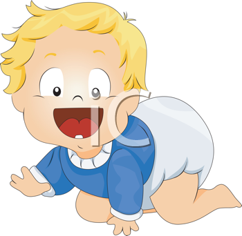 Royalty Free Clipart Image of a Crawling Baby