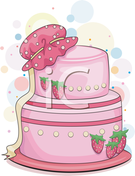 Royalty Free Clipart Image of a Strawberry Cake With a Baby Hat on It
