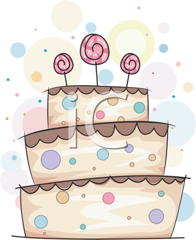 Royalty Free Clipart Image of a Layer Cake With Lollipops