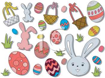 Royalty Free Clipart Image of a Set of Easter Icons