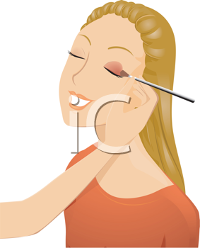 Royalty Free Clipart Image of a Girl Having Eyeshadow Applied
