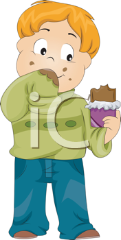 Royalty Free Clipart Image of a Child With Chocolate Smeared on His Sweater
