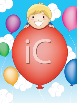 Royalty Free Clipart Image of a Little Boy on a Balloon in the Sky With Other Balloons