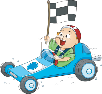 Royalty Free Clipart Image of a Little Boy in a Go Kart Race