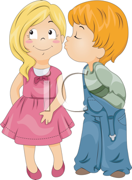 Illustration of a Boy Kissing a Girl on Her Cheek