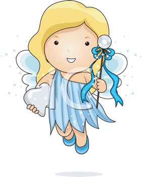 Royalty Free Clipart Image of the Tooth Fairy With a Tooth