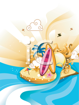 Royalty Free Clipart Image of an Abstract Beach Scene