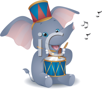 Royalty Free Clipart Image of an Elephant Drummer