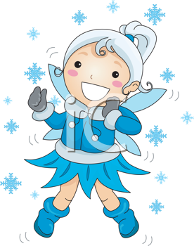 Royalty Free Clipart Image of a Fairy and Snowflakes