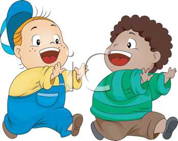 Royalty Free Clipart Image of Two Children Playing Tag