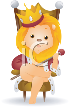 Royalty Free Clipart Image of a Lion King