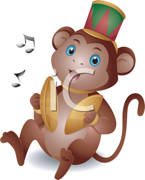 Royalty Free Clipart Image of a Monkey With Cymbals