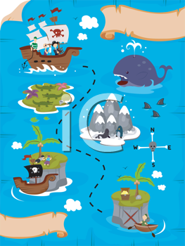 Royalty Free Clipart Image of a Treasure Map