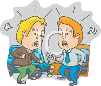 Royalty Free Clipart Image of Two Men Arguing at an Car Crash