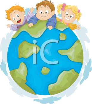 Royalty Free Clipart Image of Three Kids on a Top of a Globe