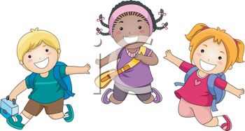 Royalty Free Clipart Image of Jumping Children