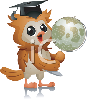Royalty Free Clipart Image of an Owl Holding a Globe