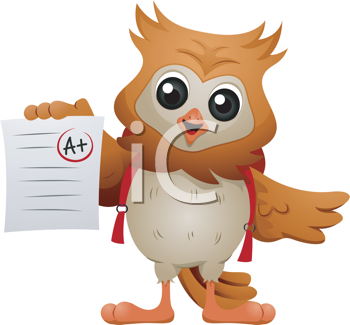 Royalty Free Clipart Image of an Owl Holding a Paper With an A Plus
