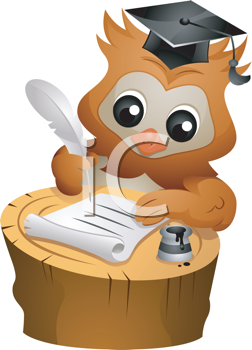 Royalty Free Clipart Image of an Owl Wearing a Mortarboard Writing Something With a Quill