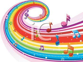 Royalty Free Clipart Image of a Rainbow With Musical Notes
