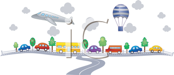 Royalty Free Clipart Image of a Scene With a Variety of Transportation