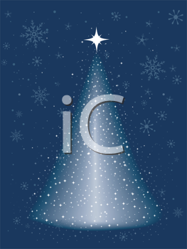 Royalty Free Clipart Image of a Sparkling Christmas Tree on Blue