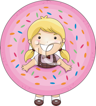 Royalty Free Clipart Image of a Girl With Her Head Through the Centre of a Pink Iced Doughnut