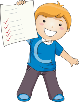 Royalty Free Clipart Image of a Boy Proudly Showing a Paper With Check Marks