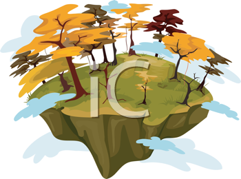 Royalty Free Clipart Image of an Autumn Island
