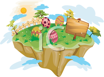 Royalty Free Clipart Image of a Floating Easter Island