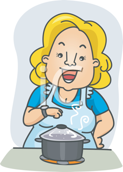 Royalty Free Clipart Image of a Woman Watching the Food She's Cooking