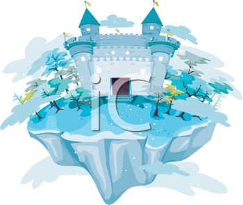 Royalty Free Clipart Image of a Castle Floating on a Blue Island