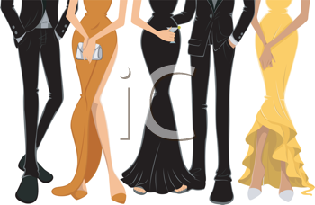 Royalty Free Clipart Image of the Lower Bodies of People in Formal Clothes
