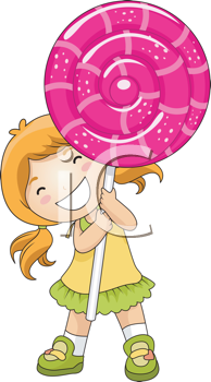Royalty Free Clipart Image of a Girl With a Huge Lollipop