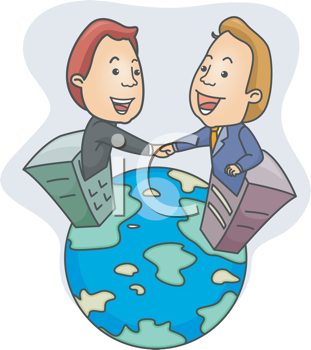 Royalty Free Clipart Image of Men in Filing Cabinets Shaking Hands on Top of the World