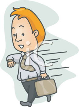 Royalty Free Clipart Image of a Man in a Hurry Checking His Watch