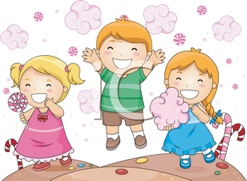 Royalty Free Clipart Image of Kids in Candy Land