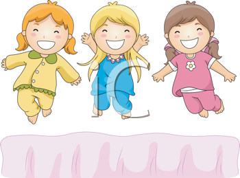 Royalty Free Clipart Image of Little Girls at a Pyjama Party Jumping on the Bed
