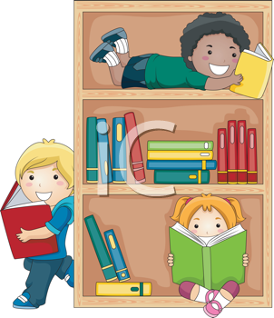 Royalty Free Clipart Image of a Group of Kids Reading Books