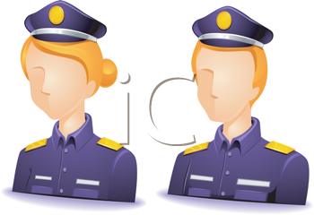 Royalty Free Clipart Image of Faceless Police
