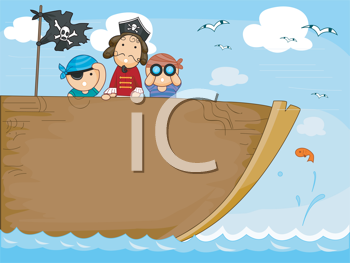 Royalty Free Clipart Image of Three Children on a Pirate Ship