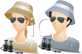 Royalty Free Clipart Image of Faceless People With Binoculars