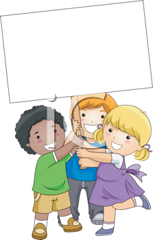 Royalty Free Clipart Image of Children With a Blank Board