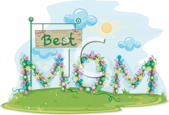 Royalty Free Clipart Image of a Best Mom Sign Made of Flowers