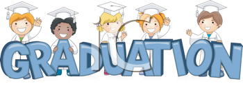 Royalty Free Clipart Image of Graduates With the Word Graduation