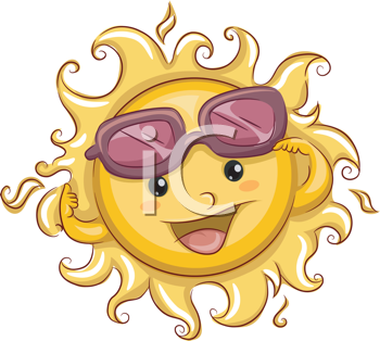 Royalty Free Clipart Image of the Sun Wearing Sunglasses