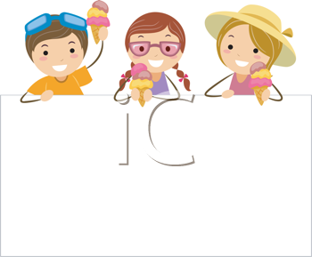 Royalty Free Clipart Image of Children With Ice Cream