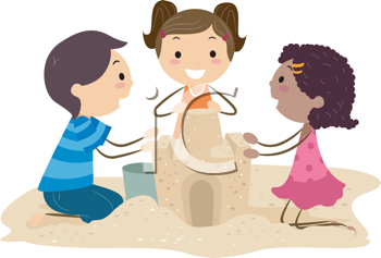 Royalty Free Clipart Image of Children Making a Sandcastle