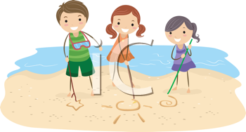 Royalty Free Clipart Image of Children Drawing in the Sand